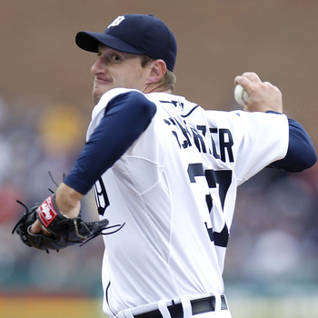 DETROIT, MI - APRIL 08:  Max Scherzer #37 of the Detroit Tigers thows a first inning pitch while playing the Kansas City Royals during Opening Day at Comerica Park on April 8, 2011 in Detroit, Michigan.  (Photo by Gregory Shamus/Getty Images)