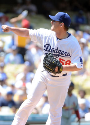 LOS ANGELES, CA - APRIL 17:  Chad Billingsley #58 of the Los Angeles Dodgers pitches against the St Louis Cardinals during the second inning at Dodger Stadium on April 17, 2011 in Los Angeles, California.  (Photo by Harry How/Getty Images)