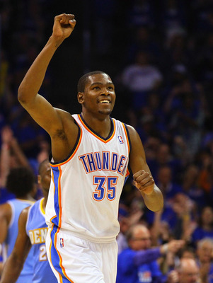 OKLAHOMA CITY, OK - APRIL 20: Kevin Durant #35 of the Oklahoma City Thunder celebrates a basket against the Denver Nuggets in Game Two of the Western Conference Quarterfinals in the 2011 NBA Playoffs on April 20, 2011 at the Ford Center in Oklahoma City,