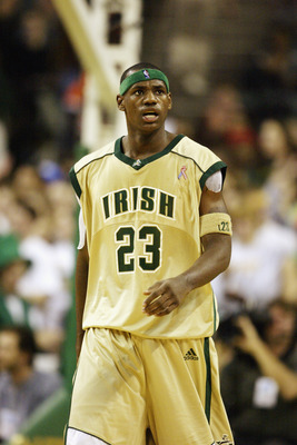 CLEVELAND - DECEMBER 12:  LeBron James #23 of St. Vincent-St. Mary High School looks on against Oak Hill Academy at the Cleveland State University Convocation Center on December 12, 2002 in Cleveland, Ohio.  James scored 31 points in leading St. Vincent-S