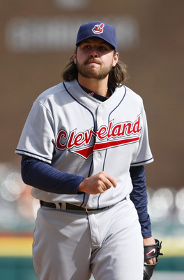 DETROIT - APRIL 11: Chris Perez #54 of the Cleveland Indians reacts after a wild pitch allows Carlos Guillen #9 of the Detroit Tigers to score the game winning run in the bottom of the ninth inning on April 11, 2010 at Comerica Park in Detroit, Michigan.