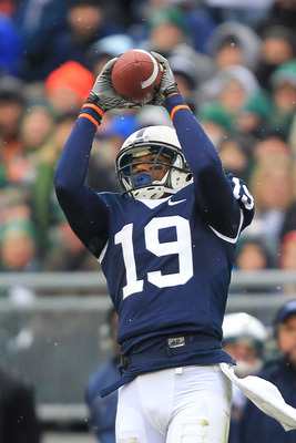 STATE COLLEGE, PA - NOVEMBER 27: Wide receiver Justin Brown #19 of the Penn State Nittany Lions catches a pass during a game against the Michigan State Spartans on November 27, 2010 at Beaver Stadium in State College, Pennsylvania. The Spartans won 28-22.