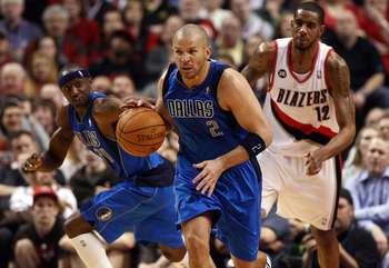 PORTLAND, OR - APRIL 21:  Jason Kidd #2 of the Dallas Mavericks dribbles the ball against  the Portland Trail Blazers in Game Three of the Western Conference Quarterfinals in the 2011 NBA Playoffs on April 21, 2011 at the Rose Garden in Portland, Oregon.