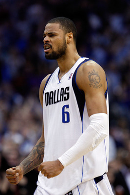 DALLAS, TX - APRIL 16:  Tyson Chandler #6 of the Dallas Mavericks reacts against the Portland Trail Blazers in Game One of the Western Conference Quarterfinals during the 2011 NBA Playoffs on April 16, 2011 at American Airlines Center in Dallas, Texas.  N