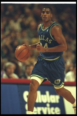 19 Dec 1995:  Guard Jim Jackson of the Dallas Mavericks moves the ball during a game against the Chicago Bulls at the United Center in Chicago, Illinois.  The Bulls won the game, 114-101. Mandatory Credit: Jonathan Daniel  /Allsport Mandatory Credit: Jona