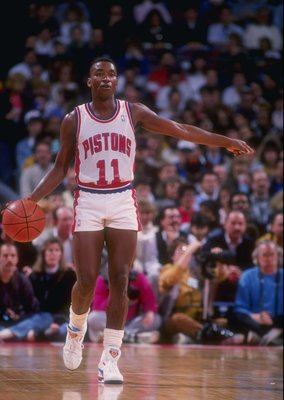 1989-1990:  Guard Isiah Thomas of the Detroit Pistons moves the ball during a game. Mandatory Credit: Allsport  /Allsport Mandatory Credit: Allsport  /Allsport