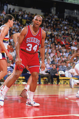 DENVER - 1989:  Charles Barkley #34 of the Philadelphia 76ers reacts to the 1989-1990 NBA season game at the McNichols Arena in Denver, Colorado. (Photo by Tim Defrisco/Getty Images)