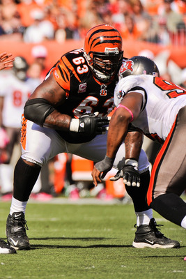 CINCINNATI, OH - OCTOBER 10: Bobbie Williams #63 of the Cincinnati Bengals blocks against the Tampa Bay Buccaneers at Paul Brown Stadium on October 10, 2010 in Cincinnati, Ohio. (Photo by Jamie Sabau/Getty Images)