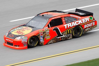 TALLADEGA, AL - APRIL 15:  Jamie McMurray, driver of the #1 Bass Pro Shops/Tracker Boats Chevrolet, drives during practice for the NASCAR Sprint Cup Series Aaron's 499 at Talladega Superspeedway on April 15, 2011 in Talladega, Alabama.  (Photo by Todd War