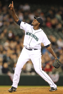 SEATTLE, WA - APRIL 12:  Starting pitcher Michael Pineda #36 of the Seattle Mariners points to a pop foul against the Toronto Blue Jays at Safeco Field on April 12, 2011 in Seattle, Washington. (Photo by Otto Greule Jr/Getty Images)