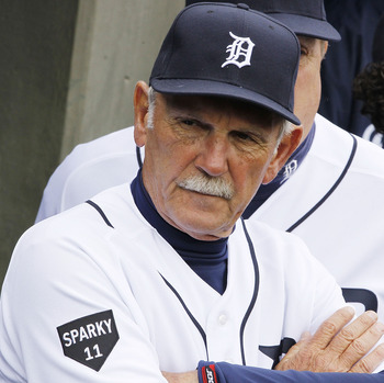 DETROIT, MI - APRIL 08:  Jim Leyland Manager of the Detroit Tigers looks on from the dugout prior to playing the Kansas City Royals on Opening Day at Comerica Park on April 8, 2011 in Detroit, Michigan. Detroit won the game 5-2.  (Photo by Gregory Shamus/