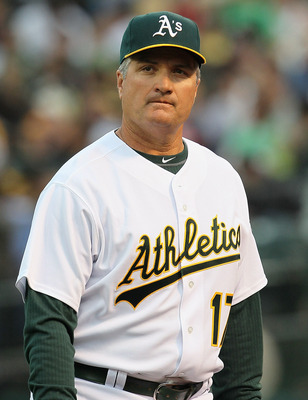 OAKLAND, CA - APRIL 01:  Oakland Athletics manager Bob Geren #17 looks on before the start of a game against the Seattle Mariners at the Oakland-Alameda County Coliseum on April 1, 2011 in Oakland, California  (Photo by Justin Sullivan/Getty Images)