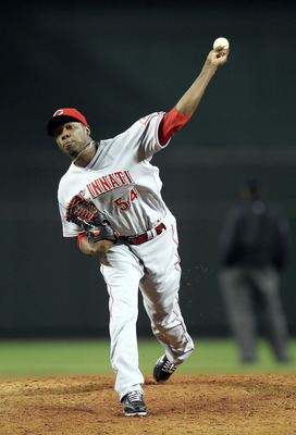 PHOENIX, AZ - APRIL 09:  Relief pitcher Aroldis Chapman #54 of the Cincinnati Reds pitches against the Arizona Diamondbacks during the Major League Baseball game at Chase Field on April 9, 2011 in Phoenix, Arizona.  The Reds defeated the Diamondbacks 6-1.
