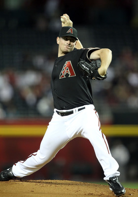 PHOENIX, AZ - APRIL 09:  Starting pitcher Daniel Hudson #41 of the Arizona Diamondbacks pitches against the Cincinnati Reds during the Major League Baseball game at Chase Field on April 9, 2011 in Phoenix, Arizona.  (Photo by Christian Petersen/Getty Imag
