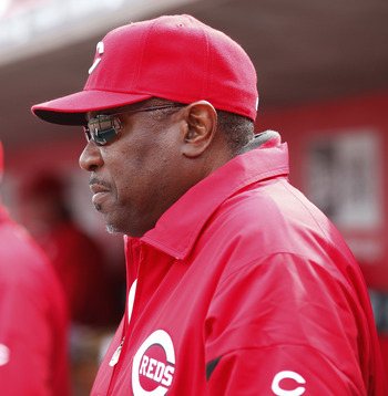 CINCINNATI, OH - MARCH 31: Cincinnati Reds manager Dusty Baker looks on against the Milwaukee Brewers in the opening day game at Great American Ballpark on March 31, 2011 in Cincinnati, Ohio. (Photo by Joe Robbins/Getty Images)
