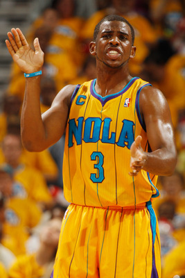 NEW ORLEANS, LA - APRIL 22:  Chris Paul #3 of the New Orleans Hornets reacts during the game against the Los Angeles Lakers in Game Three of the Western Conference Quarterfinals in the 2011 NBA Playoffs at the New Orleans Arena  on April 22, 2011 in New O