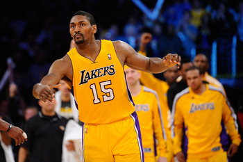 LOS ANGELES, CA - APRIL 20:  Ron Artest #15 of the Los Angeles Lakers reacts while taking on the New Orleans Hornets in Game Two of the Western Conference Quarterfinals in the 2011 NBA Playoffs on April 20, 2011 at Staples Center in Los Angeles, Californi