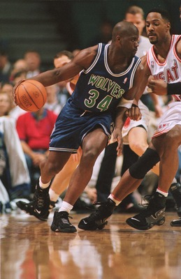 5 Mar 1996:  Guard Isaiah Rider of the Minnesota Timberwolves drives to the basket during the Timberwolves 113-72 loss to the Miami Heat at Miami Arena in Miami, Florida. Mandatory Credit: Allsport USA/ALLSPORT