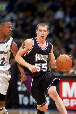 4 Dec 1999:  Jason Williams #55 of the Sacramento Kings dribbling the ball down the court during the game against the Washington Wizards at the MCI Center in Washington, D.C. The Kings defeated the Wizards 114-104.   Mandatory Credit: Doug Pensinger  /All