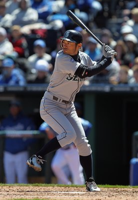 KANSAS CITY, MO - APRIL 16:  Ichiro Suzuki #51 of the Seattle Mariners in action during the game against the Kansas City Royals  on April 16, 2011 at Kauffman Stadium in Kansas City, Missouri.  (Photo by Jamie Squire/Getty Images)