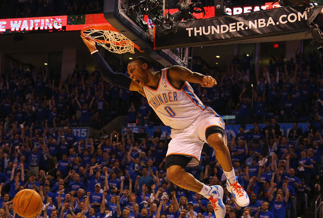 OKLAHOMA CITY, OK - APRIL 17: Russell Westbrook #0 of the Oklahoma City Thunder dunks the ball after a turnover against the Denver Nuggets in Game One of the Western Conference Quarterfinals in the 2011 NBA Playoffs on April 17, 2011 at the Ford Center in