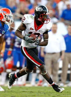 JACKSONVILLE, FL - OCTOBER 31:  Tavarres King #12 of the Georgia Bulldogs against the Florida Gators at Jacksonville Municipal Stadium on October 31, 2009 in Jacksonville, Florida.  (Photo by Kevin C. Cox/Getty Images)