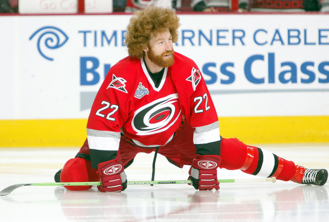 RALEIGH, NC - JUNE 14:  Mike Commodore #22 of the Carolina Hurricanes warms up before game five of the 2006 NHL Stanley Cup Finals against the Edmonton Oilers on June 14, 2006 at the RBC Center in Raleigh, North Carolina.  (Photo by Elsa/Getty Images)