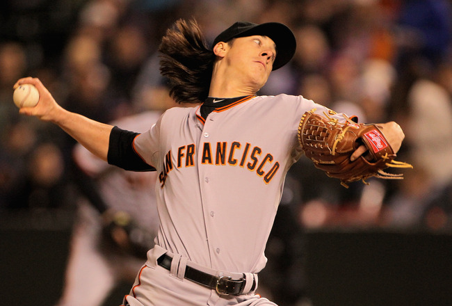 DENVER, CO - APRIL 18:  Starting pitcher Tim Lincecum #55 of the San Francisco Giants delivers against the Colorado Rockies at Coors Field on April 18, 2011 in Denver, Colorado. Lincecum recorded 10 strike outs as he earned the win as the Giants defeated 