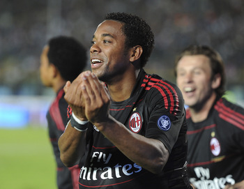 BRESCIA, ITALY - APRIL 23:  Robinho of Milan celebrates after scoring  his opening goal during the Serie A match Brescia Calcio and AC Milan at Mario Rigamonti Stadium on April 23, 2011 in Brescia, Italy.  (Photo by Dino Panato/Getty Images)