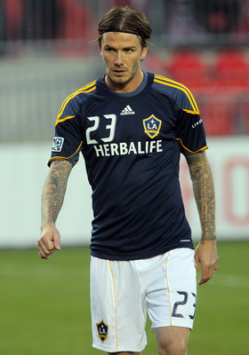 TORONTO, CANADA - APRIL 13: David Beckham #23 of Los Angeles Galaxy warms up before MLS action against Toronto FC at BMO Field April 13, 2011 in Toronto, Ontario, Canada. (Photo by Abelimages/Getty Images)