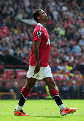 MANCHESTER, ENGLAND - APRIL 23: Nani of Manchester United looks to the sky after missing a chance at goal during the Barclays Premier League match between Manchester United and Everton at Old Trafford on April 23, 2011 in Manchester, England.  (Photo by S