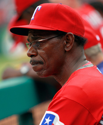 ARLINGTON, TX - APRIL 01:  Manager Ron Washington of the Texas Rangers leads his team against the Boston Red Sox on Opening Day at Rangers Ballpark in Arlington on April 1, 2011 in Arlington, Texas.  (Photo by Tom Pennington/Getty Images)