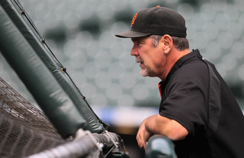 DENVER, CO - APRIL 18:  Manager Bruce Bochy of the San Francisco Giants watches batting practice prior to facing the Colorado Rockies at Coors Field on April 18, 2011 in Denver, Colorado.  (Photo by Doug Pensinger/Getty Images)