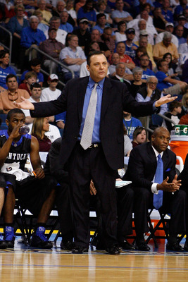 TAMPA, FL - MARCH 13:  Head coach Billy Gillispie of the Kentucky Wildcats argues a call during the game against the Louisiana State University Tigers during the second round of the SEC Men's Basketball Tournament on March 13, 2009 at The St. Pete Times F