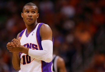 PHOENIX - MAY 06:   Leandro Barbosa #10 of the Phoenix Suns  looks on in Game One of the Western Conference Semifinals against the San Antonio Spurs during the 2007 NBA Playoffs at US Airways Center on May 6, 2007 in Phoenix, Arizona.  NOTE TO USER: User