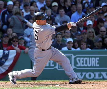 BOSTON, MA - APRIL 9:  Russell Martin #55 of the New York Yankees connects for a three-run home run against the Boston Red Sox in the first inning at Fenway Park April 9, 2011 in Boston, Massachusetts. (Photo by Jim Rogash/Getty Images)