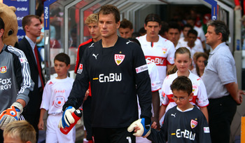 Jens Lehmann leads out VfB Stuttgart
