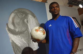 22 Apr 2002:  Marcel Desailly of France during the Adidas Kit Launch of the new French national kit in Govent Garden, London. DIGITAL IMAGE Mandatory Credit: John Gichigi/Getty Images