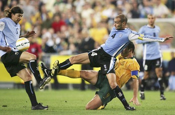 SYDNEY, NSW - NOVEMBER 16:  Paolo Montero of Uruguay in action during the second leg of the 2006 FIFA World Cup qualifying match between Australia and Uruguay at Telstra Stadium on November 16, 2005 in Sydney, Australia.  (Photo by Adam Pretty/Getty Image
