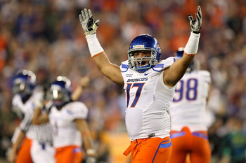 GLENDALE, AZ - JANUARY 04:  Winston Venable #17 of the Boise State Broncos reacts in the third quarter against the TCU Horned Frogs during the Tostitos Fiesta Bowl at the Universtity of Phoenix Stadium on January 4, 2010 in Glendale, Arizona.  (Photo by J