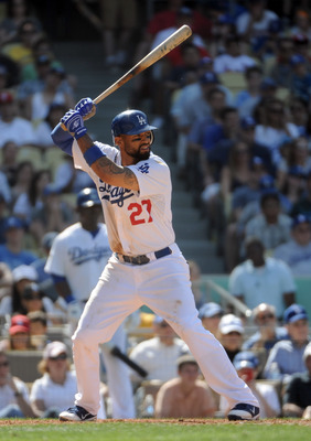 LOS ANGELES, CA - APRIL 17:  Matt Kemp #27 of the Los Angeles Dodgers at bat on his way to hitting a two run homerun in the bottom of the ninth inning for a 2-1 win over the St. Louis Cardinals at Dodger Stadium on April 17, 2011 in Los Angeles, Californi