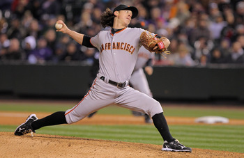 DENVER, CO - APRIL 18:  Starting pitcher Tim Lincecum #55 of the San Francisco Giants works against the Colorado Rockies at Coors Field on April 18, 2011 in Denver, Colorado. Lincecum recorded 10 strike outs as he earned the win as the Giants defeated the