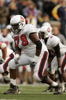 ANN ARBOR, MI - NOVEMBER 4:  Offensive tackle Andre Ramsey #79 of the Ball State Cardinals during the NCAA game against the Michigan Wolverines on November 4, 2006 at Michigan Stadium in Ann Arbor, Michigan. Michigan won 34-26. (Photo by Brian Bahr/Getty