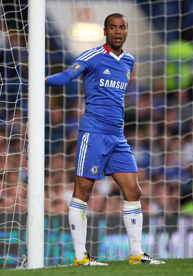 LONDON, ENGLAND - APRIL 20: Ashley Cole of Chelsea looks on during the Barclays Premier League match between Chelsea and Birmingham City at Stamford Bridge on April 20, 2011 in London, England.  (Photo by Clive Rose/Getty Images)