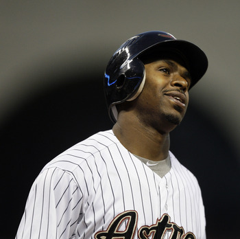 HOUSTON - APRIL 15:  Michael Bourn #21 of the Houston Astros reacts after striking out in the third inning against the San Diego Padres at Minute Maid Park on April 15, 2011 in Houston, Texas.  (Photo by Bob Levey/Getty Images)