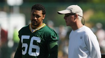 GREEN BAY, WI - JULY 28: General Manager Ted Thompson of the Green Bay Packers talks with Nick Barnett #56 during summer training camp on July 28, 2008 at the Hutson Center in Green Bay, Wisconsin. (Photo by Jonathan Daniel/Getty Images)