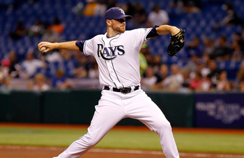 ST. PETERSBURG, FL - APRIL 15:  Pitcher Wade Davis #40 of the Tampa Bay Rays pitches against the Minnesota Twins during the game at Tropicana Field on April 15, 2011 in St. Petersburg, Florida.  (Photo by J. Meric/Getty Images)