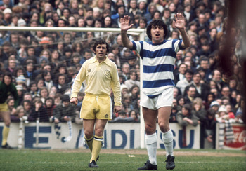 LONDON - APRIL 27:  Terry Venables of Queens Park Rangers gives orders to his team-mates as Johnny Giles of Leeds United looks on during the League Division One match held on April 27, 1974 at Loftus Road, in London. Leeds United won the match 1-0. (Photo