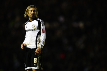 DERBY, UNITED KINGDOM - JANUARY 23:  Robbie Savage of Derby County looks on during the the FA Cup Sponsored by E.on fourth round match between Derby County and Nottingham Forest at Pride Park on January 23, 2009 in Derby, England.  (Photo by Laurence Grif