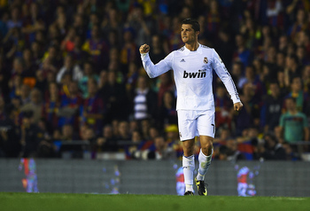 VALENCIA, BARCELONA - APRIL 20: Cristiano Ronaldo of Real Madrid celebrates after scoring during the Copa del Rey final match between Real Madrid and Barcelona at Estadio Mestalla on April 20, 2011 in Valencia, Spain. Real Madrid 1-0.  (Photo by Manuel Qu